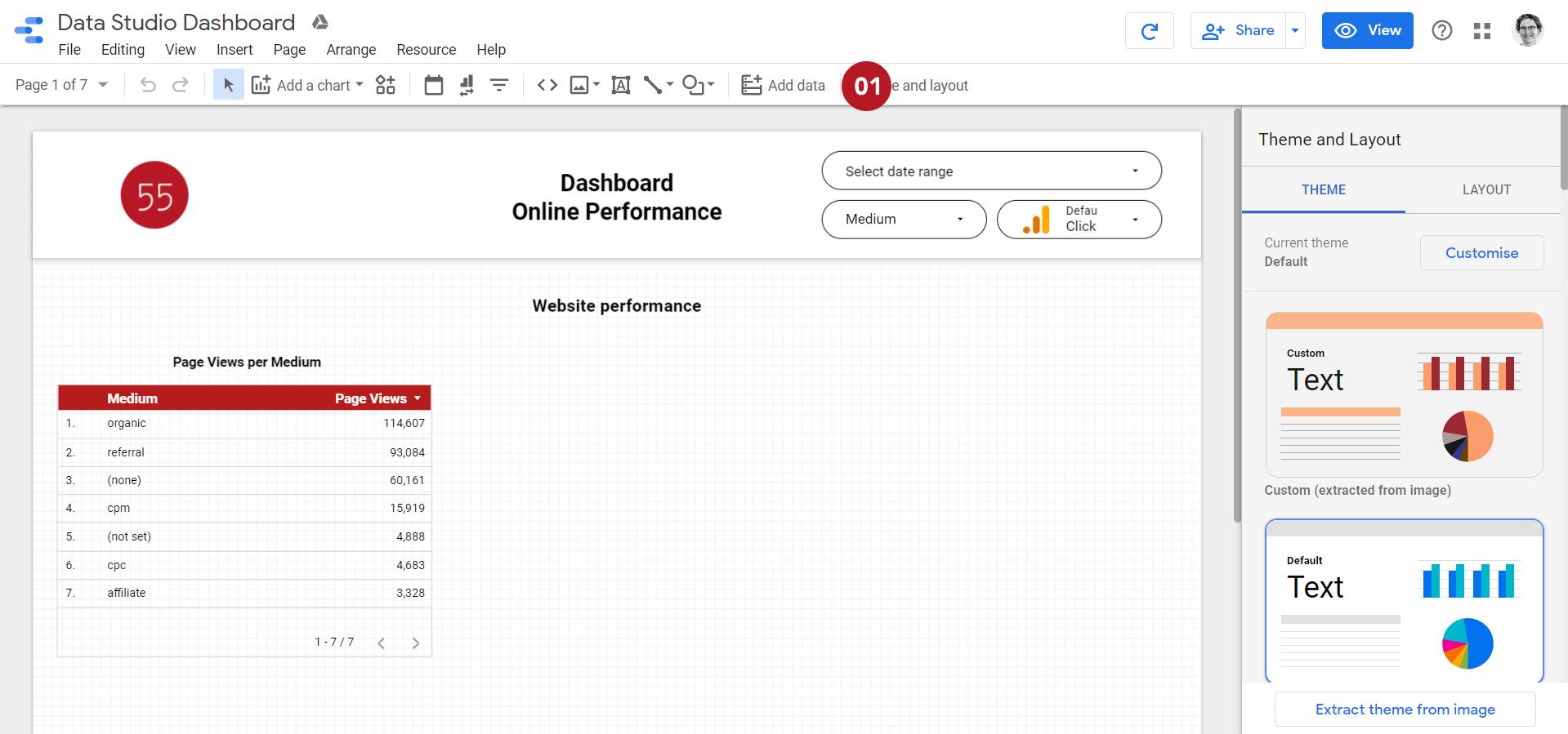 """Capture d'écran pour """"Ajouter des données"""" dans la barre d'outil Data Studio"""