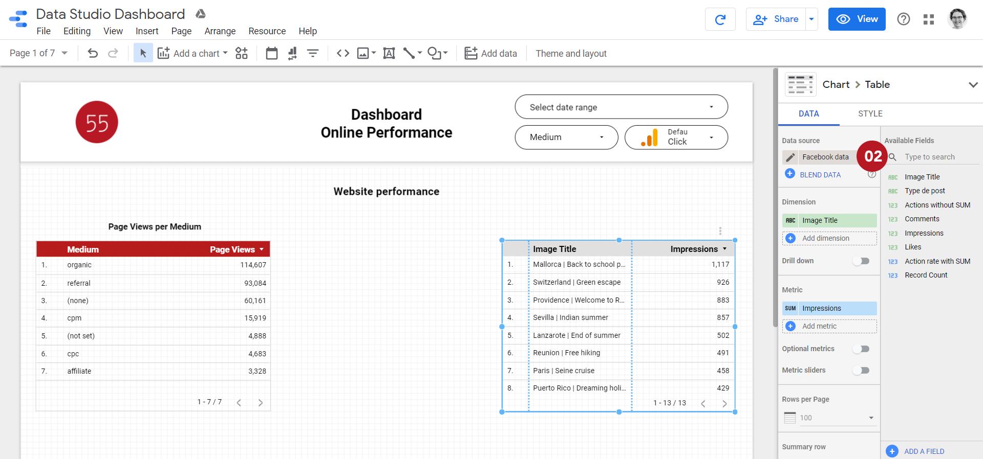 Capture d'écran pour utiliser une nouvelle source dans Data Studio