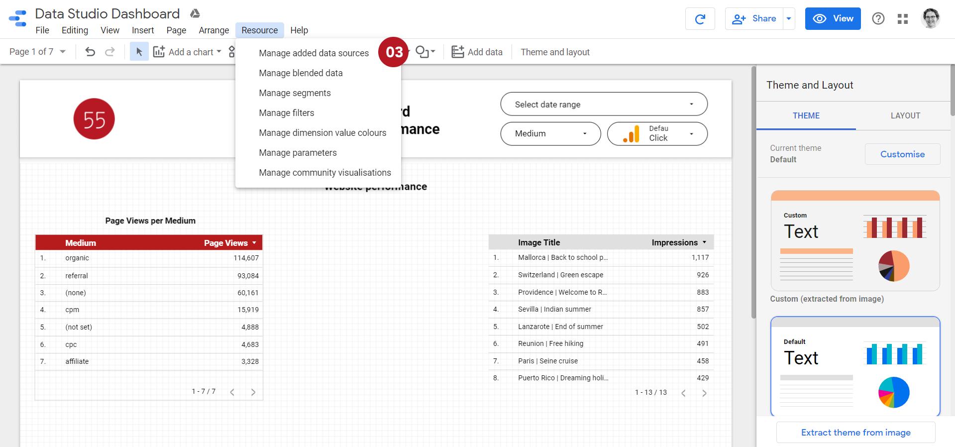 """Capture d'écran pour """"Gérer les nouvelles sources de données"""" dans la barre d'outil Data Studio"""